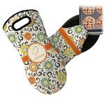 Swirls & Floral Neoprene Oven Mitt (Personalized)