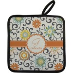 Swirls & Floral Pot Holder (Personalized)