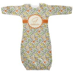 Swirls & Floral Newborn Gown (Personalized)