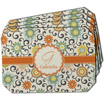 Swirls & Floral Dining Table Mat - Octagon w/ Name and Initial