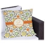 Swirls & Floral Outdoor Pillow (Personalized)