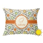 Swirls & Floral Outdoor Throw Pillow (Rectangular) (Personalized)
