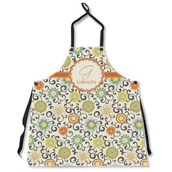Swirls & Floral Apron Without Pockets w/ Name and Initial