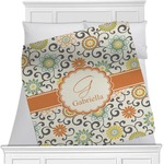 Swirls & Floral Minky Blanket (Personalized)