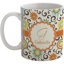 Swirls & Floral Coffee Mug (Personalized)