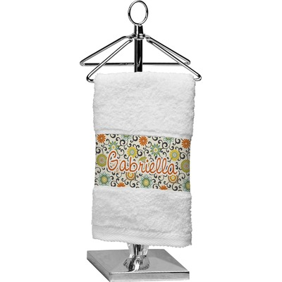Swirls & Floral Cotton Finger Tip Towel (Personalized)