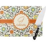 Swirls & Floral Rectangular Glass Cutting Board (Personalized)