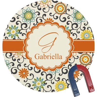 Swirls & Floral Round Fridge Magnet (Personalized)