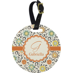 Swirls & Floral Round Luggage Tag (Personalized)