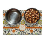 Swirls & Floral Dog Food Mat (Personalized)
