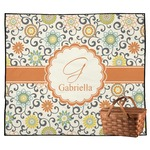 Swirls & Floral Outdoor Picnic Blanket (Personalized)