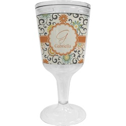 Swirls & Floral Wine Tumbler - 11 oz Plastic (Personalized)