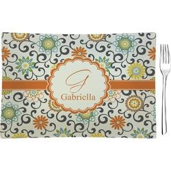 Swirls & Floral Glass Rectangular Appetizer / Dessert Plate - Single or Set (Personalized)