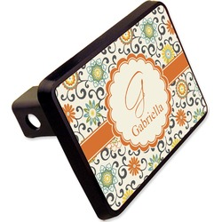 "Swirls & Floral Rectangular Trailer Hitch Cover - 2"" (Personalized)"