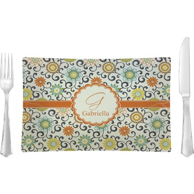 Swirls & Floral Rectangular Glass Lunch / Dinner Plate - Single or Set (Personalized)