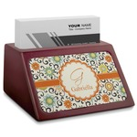 Swirls & Floral Red Mahogany Business Card Holder (Personalized)
