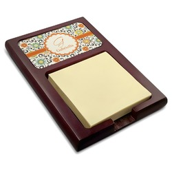 Swirls & Floral Red Mahogany Sticky Note Holder (Personalized)