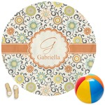 Swirls & Floral Round Beach Towel (Personalized)