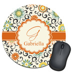 Swirls & Floral Round Mouse Pad (Personalized)