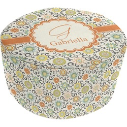 Swirls & Floral Round Pouf Ottoman (Personalized)