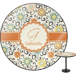 Swirls & Floral Round Table (Personalized)