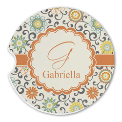 Swirls & Floral Sandstone Car Coasters (Personalized)
