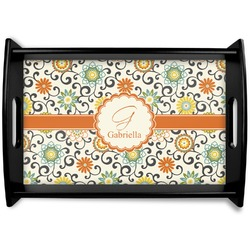 Swirls & Floral Black Wooden Tray (Personalized)