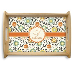 Swirls & Floral Natural Wooden Tray (Personalized)