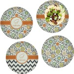 Swirls & Floral Set of 4 Lunch / Dinner Plates (Glass) (Personalized)