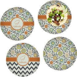 """Swirls & Floral Set of 4 Glass Lunch / Dinner Plate 10"""" (Personalized)"""