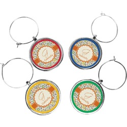 Swirls & Floral Wine Charms (Set of 4) (Personalized)