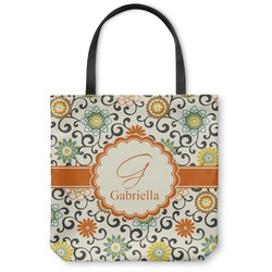 Swirls & Floral Canvas Tote Bag (Personalized)