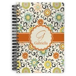 Swirls & Floral Spiral Bound Notebook - 7x10 (Personalized)