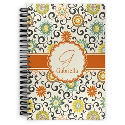 Swirls & Floral Spiral Bound Notebook (Personalized)