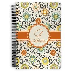 Swirls & Floral Spiral Bound Notebook - 7x10 (Personalized)