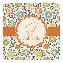 Swirls & Floral Square Decal - Custom Size (Personalized)