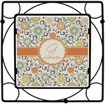 Swirls & Floral Square Trivet (Personalized)
