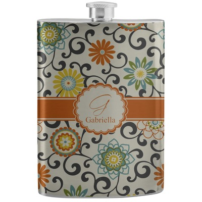 Swirls & Floral Stainless Steel Flask (Personalized)