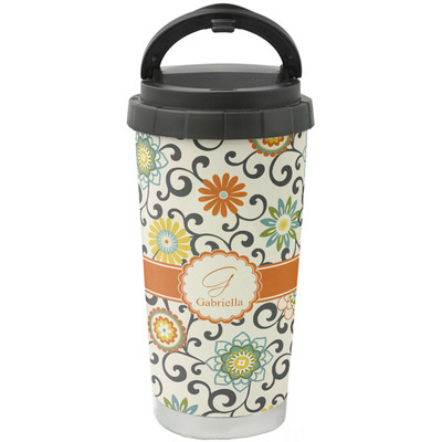 Swirls & Floral Stainless Steel Travel Mug (Personalized)