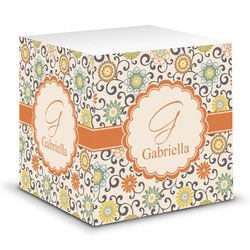 Swirls & Floral Sticky Note Cube (Personalized)