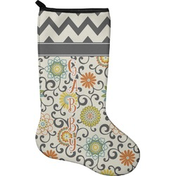 Swirls & Floral Christmas Stocking - Neoprene (Personalized)