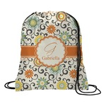 Swirls & Floral Drawstring Backpack (Personalized)