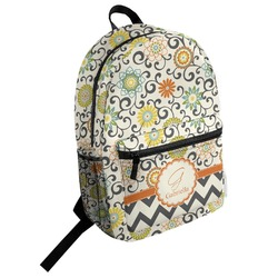 Swirls & Floral Student Backpack (Personalized)