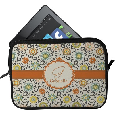 Swirls & Floral Tablet Case / Sleeve - Small (Personalized)