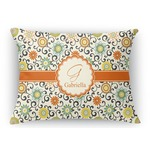 Swirls & Floral Rectangular Throw Pillow (Personalized)