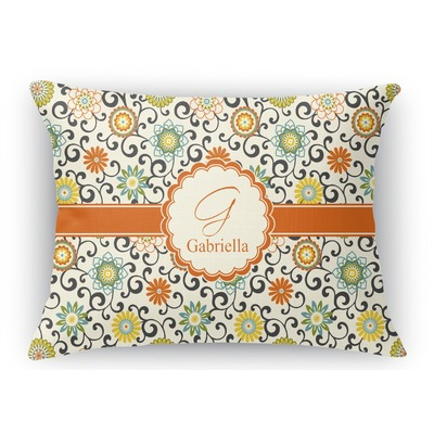 Swirls & Floral Rectangular Throw Pillow Case (Personalized)
