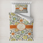 Swirls & Floral Toddler Bedding w/ Name and Initial