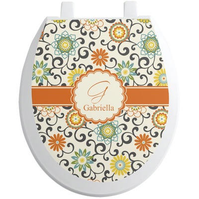 Swirls & Floral Toilet Seat Decal (Personalized)