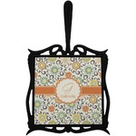 Swirls & Floral Trivet with Handle (Personalized)