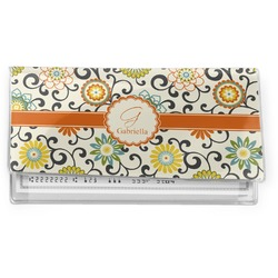 Swirls & Floral Vinyl Check Book Cover (Personalized)